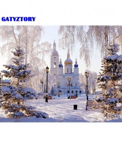 GATYZTORY Frame Snow Scene DIY Landscape Acrylic Oil Paintings