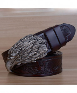 HREECOW Coffee Gray Buckle Eagle Punk Genuine Leather Belts