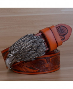 HREECOW Brown Gray Buckle Eagle Punk Genuine Leather Belts