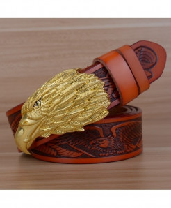 HREECOW Brown Yellow Buckle Eagle Punk Genuine Leather Belts
