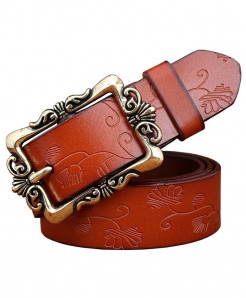 BeHighKing Brown Small Flower Cowskin Alloy Genuine Leather Belts