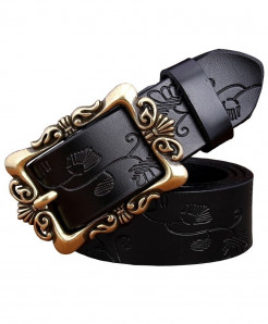BeHighKing Black Small Flower Cowskin Alloy Genuine Leather Belts