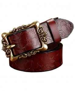 BeHighKing Coffee Big Flower Cowskin Alloy Genuine Leather Belts