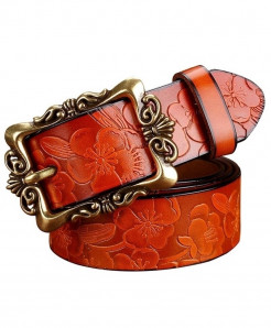 BeHighKing Brown Big Flower Cowskin Alloy Genuine Leather Belts