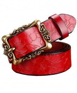 BeHighKing Red Big Flower Cowskin Alloy Genuine Leather Belts