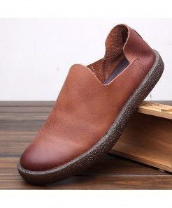PADEGAO Brown Breathable Slip-On Cow Leather Casual Shoes