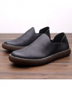 PADEGAO Black Breathable Slip-On Cow Leather Casual Shoes