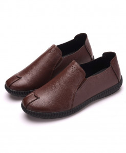 PADEGAO Brown Solid Pu Slip On Casual Shoes