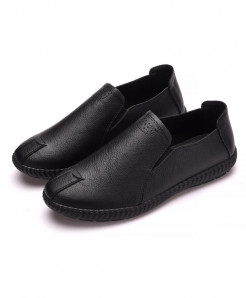 PADEGAO Black Solid Pu Slip On Casual Shoes