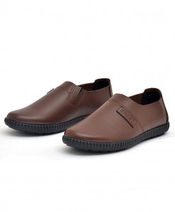 PADEGAO Brown Breathable Rubber Solid PU Casual Shoes