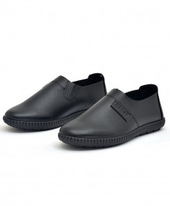 PADEGAO Black Breathable Rubber Solid PU Casual Shoes