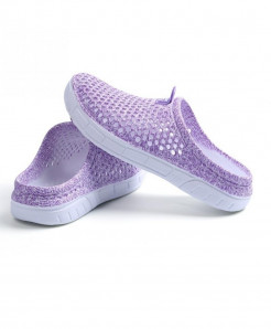 Favolook Purple None Solid Air Mesh Indoor Slippers