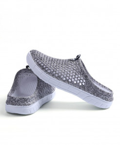 Favolook Gray None Solid Air Mesh Indoor Slippers