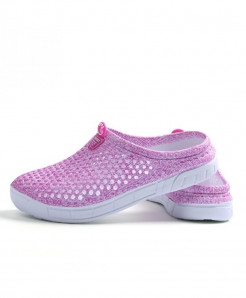 Favolook Pink None Solid Air Mesh Indoor Slippers