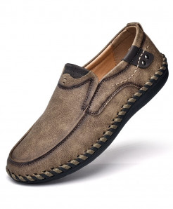 PUAMSS Khaki Slip-On Pu Rubber Breathable Casual Shoes