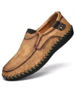 PUAMSS Brown Slip-On Pu Rubber Breathable Casual Shoes