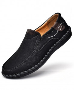PUAMSS Black Slip-On Pu Rubber Breathable Casual Shoes