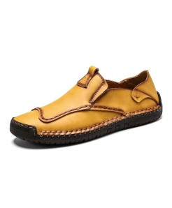Vancat Yellow Genuine Leather Solid Eva Casual Shoes