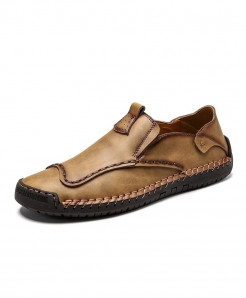 Vancat Brown Genuine Leather Solid Eva Casual Shoes