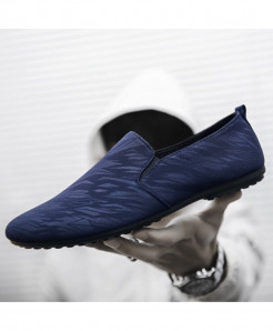 ZYYZYM Blue Canvas Slip-On Rubber Casual Shoes