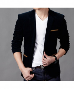CW Black Polyamide Cotton Slim Fit Blazer