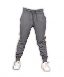 Charcoal Red Stripe Close Bottom Joggers Trousers