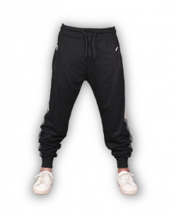 Black Grey Stripe Close Bottom Jogging Trousers
