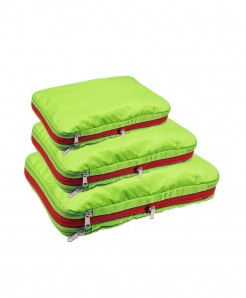 QIUYIN Green Pack Of 3 Nylon Multifunction Zipper Travel Storage Cosmetic Bag