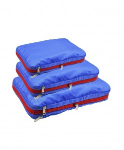 QIUYIN Royal Blue Pack Of 3 Nylon Multifunction Zipper Travel Storage Cosmetic Bag