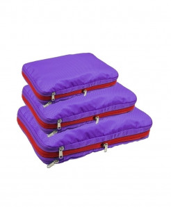 QIUYIN Purple Pack Of 3 Nylon Multifunction Zipper Travel Storage Cosmetic Bag