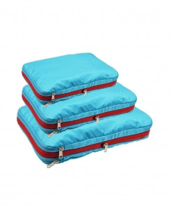 QIUYIN Sky Blue Pack Of 3 Nylon Multifunction Zipper Travel Storage Cosmetic Bag