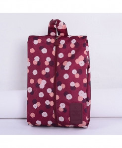 HECAI Wine Red Flowers Portable Travel Shoe Bag