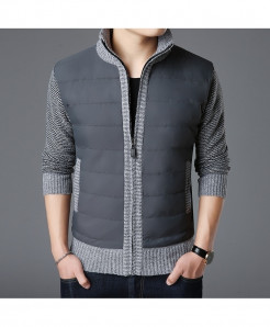 LANGBEEYAR Gray Thick Slim Fit Zipper Cardigan Sweater