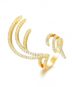 GODKI Golden Cubic Zircon Charm Angel Wing Ring