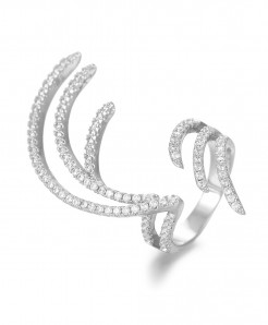 GODKI Silver Cubic Zircon Charm Angel Wing Ring