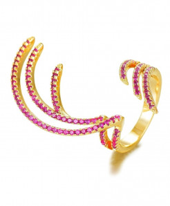GODKI Golden Pink Cubic Zircon Charm Angel Wing Ring