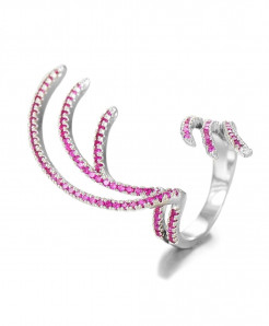 GODKI Silver Pink Cubic Zircon Charm Angel Wing Ring