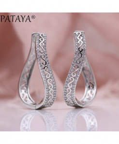 PATAYA Platinum Plated Wave Earrings 585 Micro Wax Zircon Drop Earrings