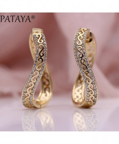 PATAYA Rose Gold Wave Earrings 585 Micro Wax Zircon Drop Earrings