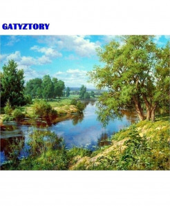 GATYZTORY Frame Green Lake DIY 60x75Cm Diy Frame Oil Painting