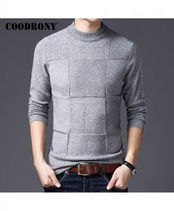 COODRONY Gray Cashmere Turtleneck Wool Sweaters