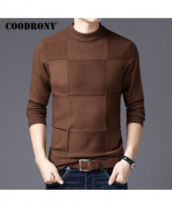 COODRONY Coffee Cashmere Turtleneck Wool Sweaters