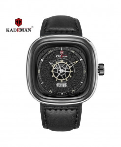 Kademan Black Stainless Steel Square Watch