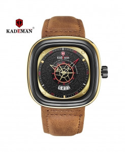 Kademan Brown Stainless Steel Square Watch
