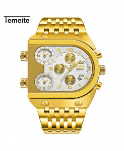 Temeite Golden White Black Stainless Steel Quartz Watch