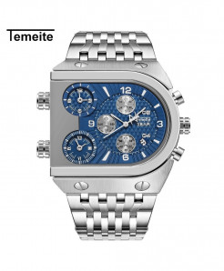 Temeite Silver Blue Stainless Steel Quartz Watch