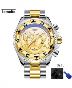Temeite Silver Golden Round Hardlex Watch
