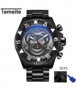 Temeite Black Gray Round Hardlex Watch