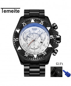 Temeite Black Whtie Round Hardlex Watch