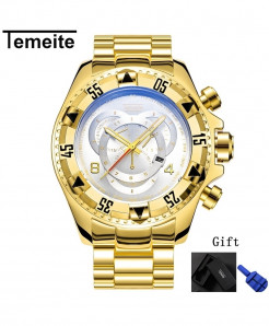 Temeite Golden White Round Hardlex Watch